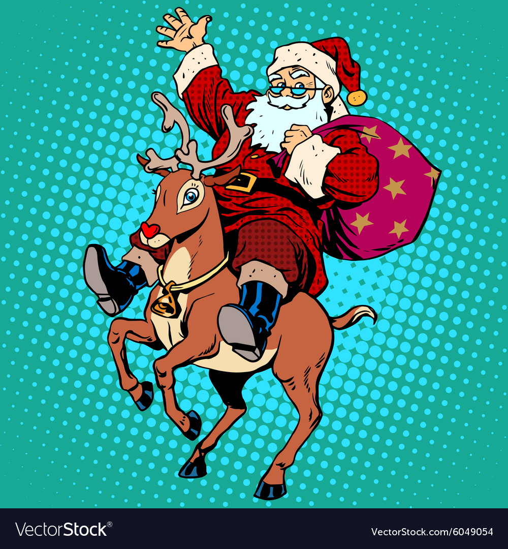 Santa claus with gifts christmas reindeer rudolf vector