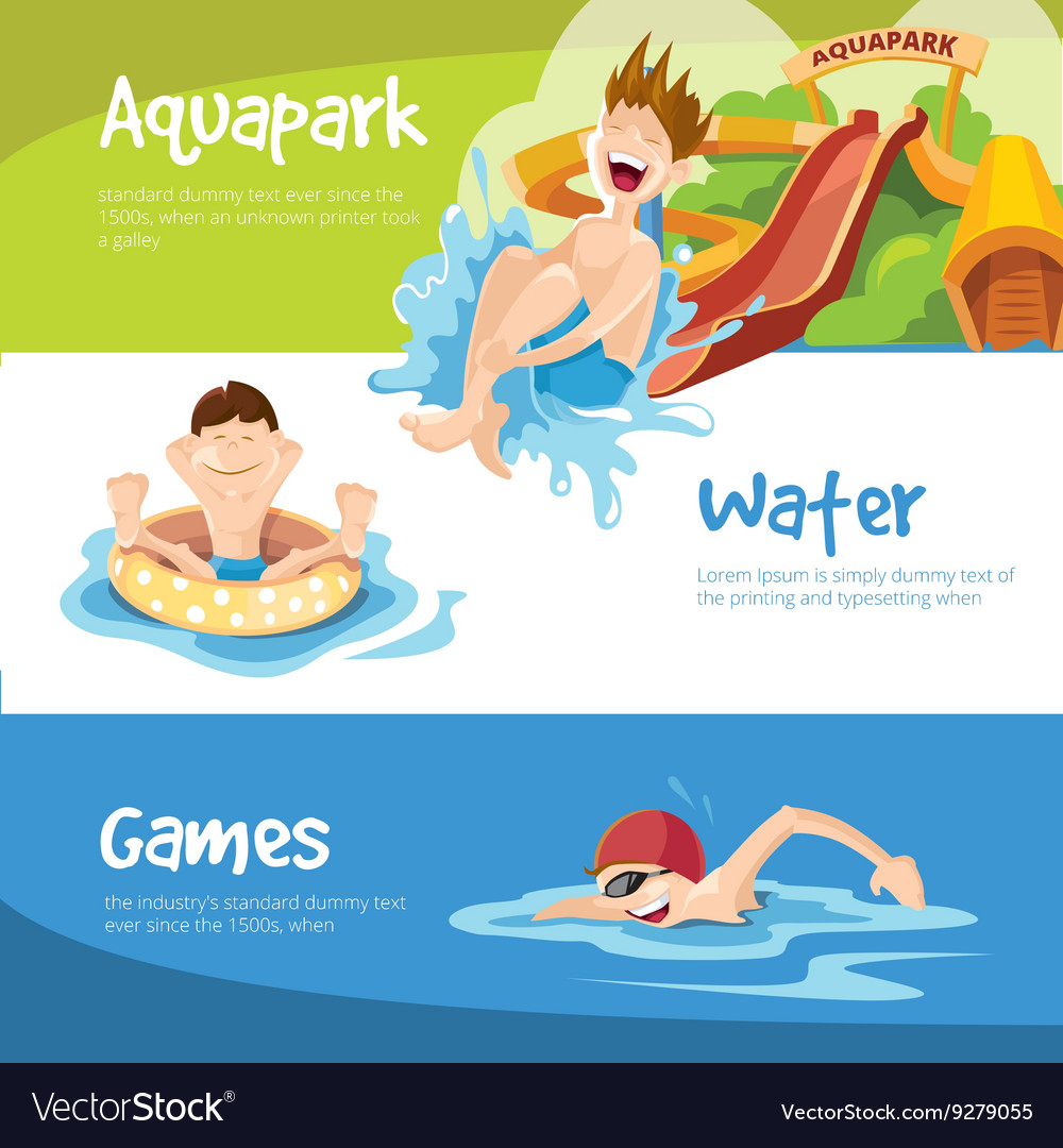 Cheerful boys rides on water hills vector