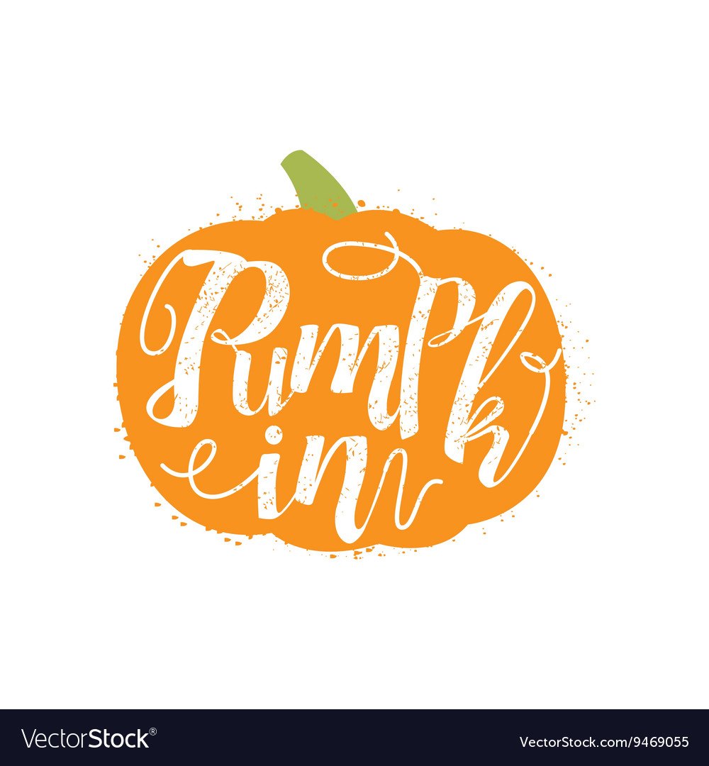 Pumpkin name of vegetable written in its vector