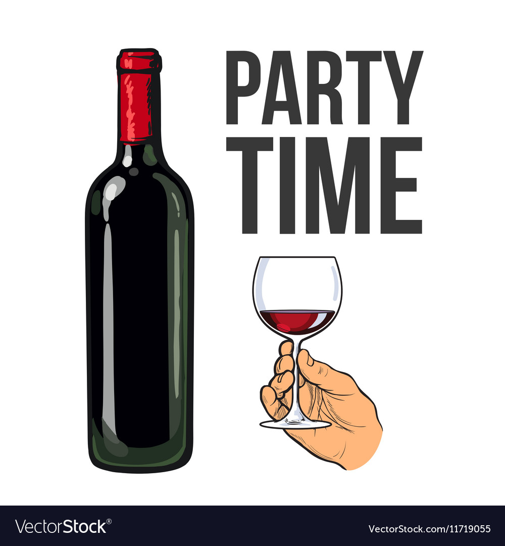 Red wine bottle and hand holding a glass vector