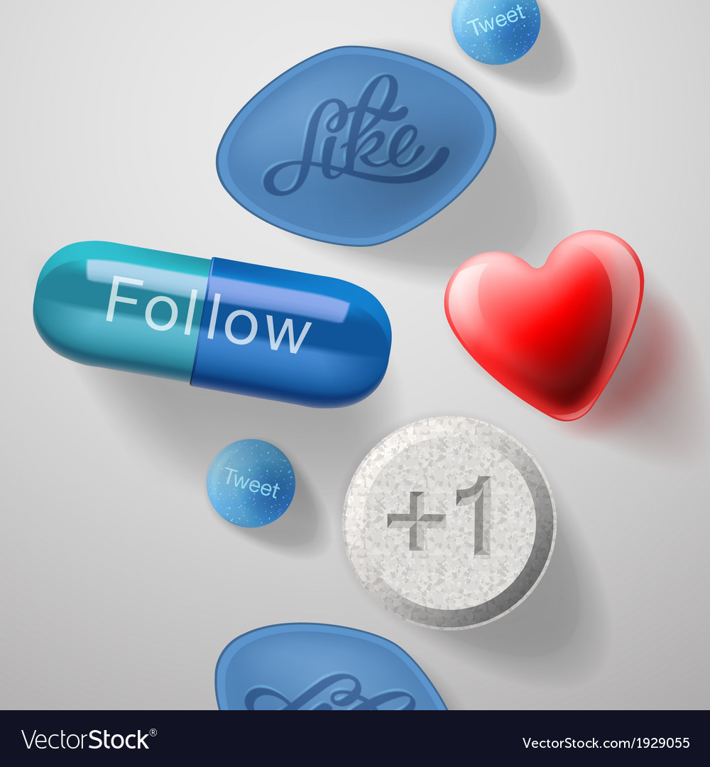 Social media addiction pills capsules isolated vector