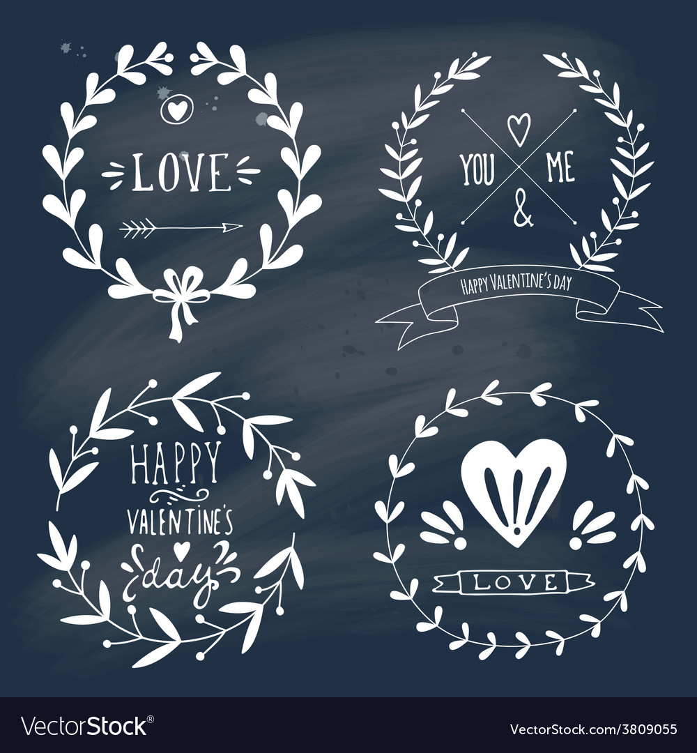 Valentines day design elements on blackboard vector