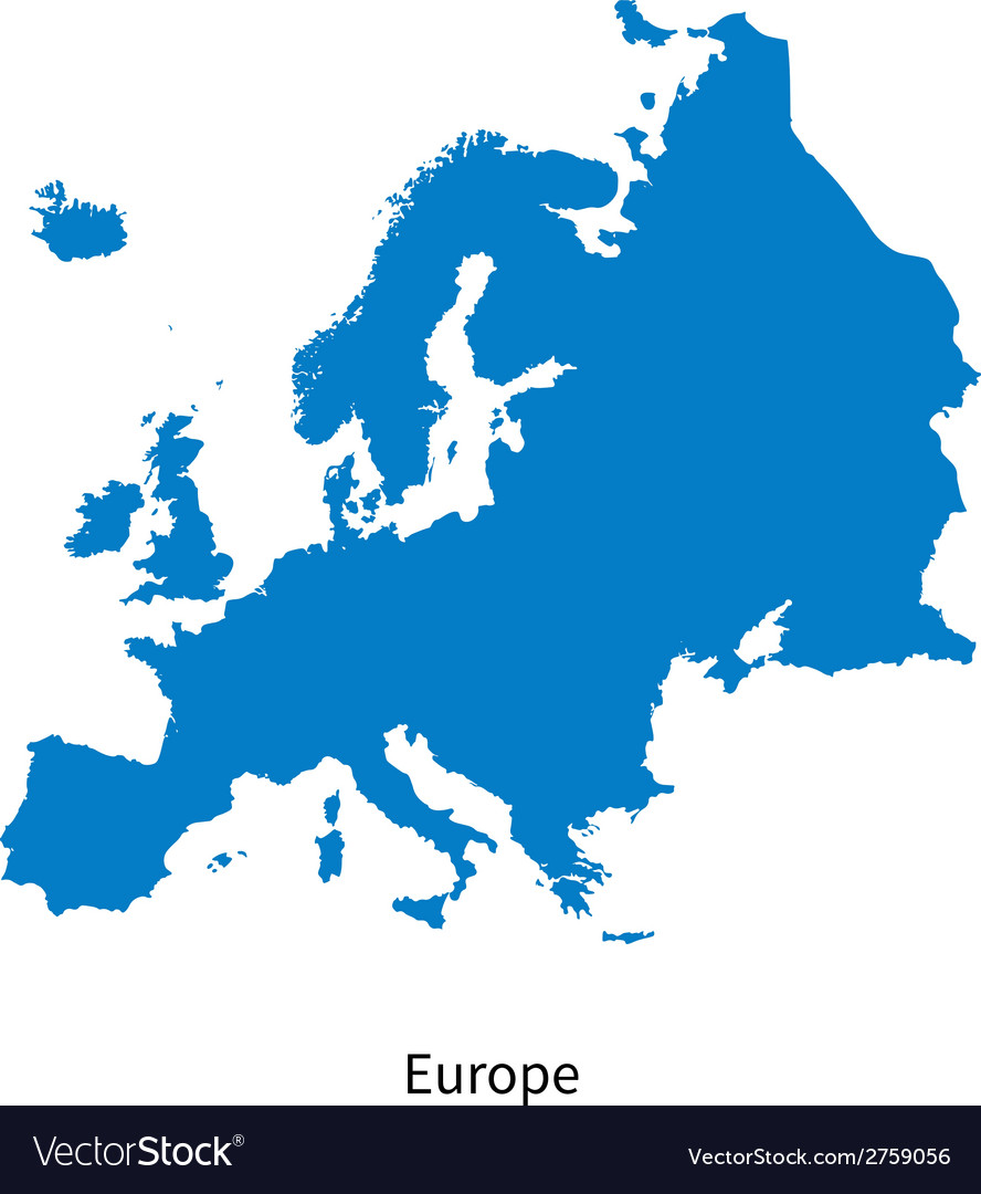 Detailed map of europe vector