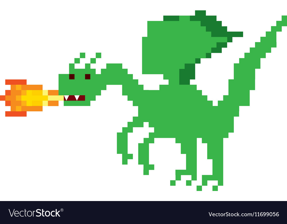 Dragon beast pixelated icon vector