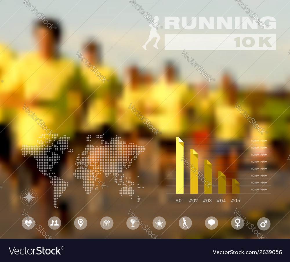Running people blurred infographic vector