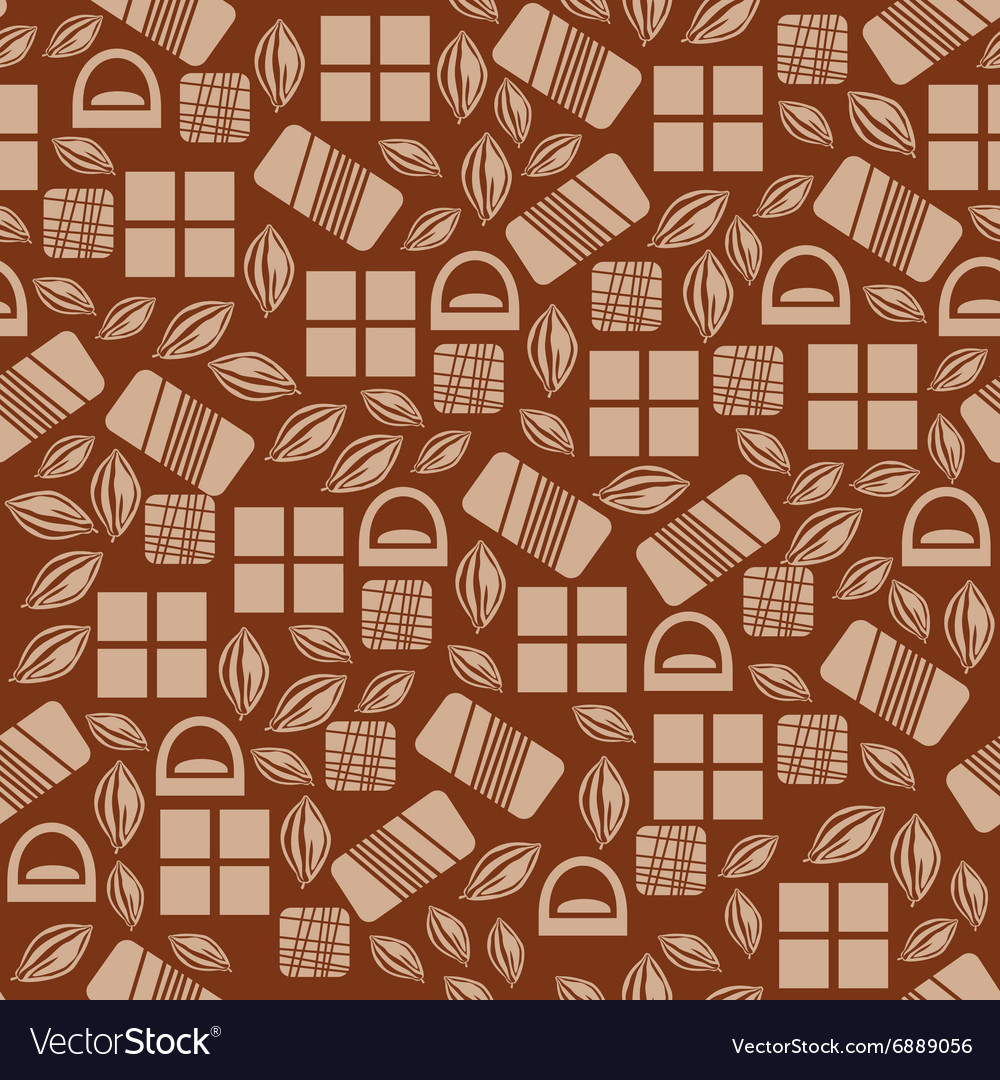 Seamless pattern with chocolate sweets isolated on vector