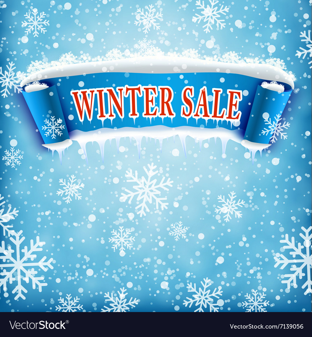 Winter sale background with blue realistic ribbon vector