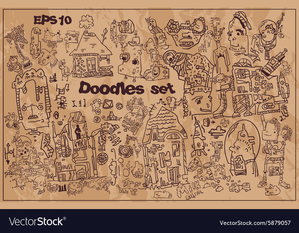 Collection of funny hand drawn doodles vector