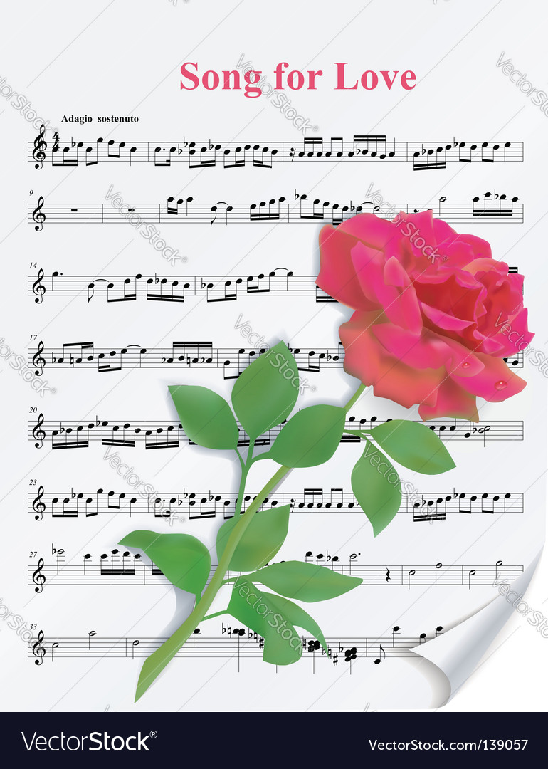 Red rose on notesheet vector
