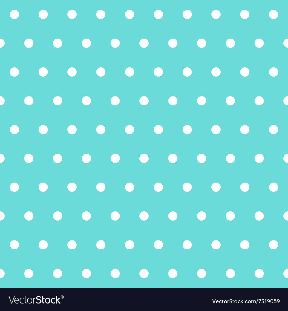 White polka dots on tiffany color background vector