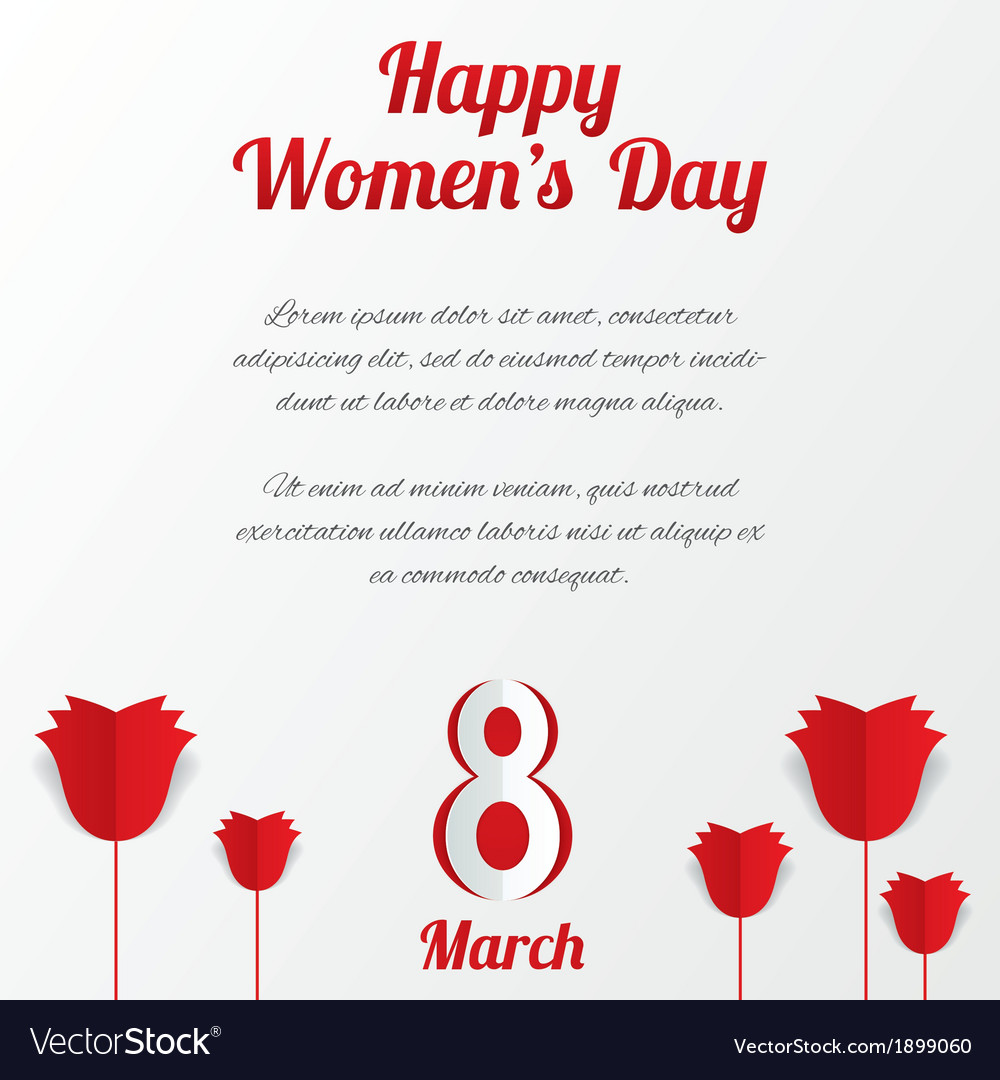 8 march womens day card with roses and text vector