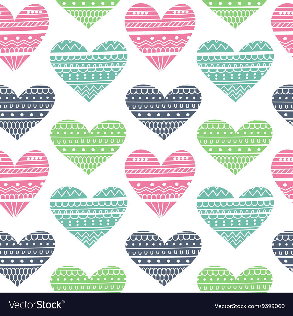 Hearts in ethnic style vector