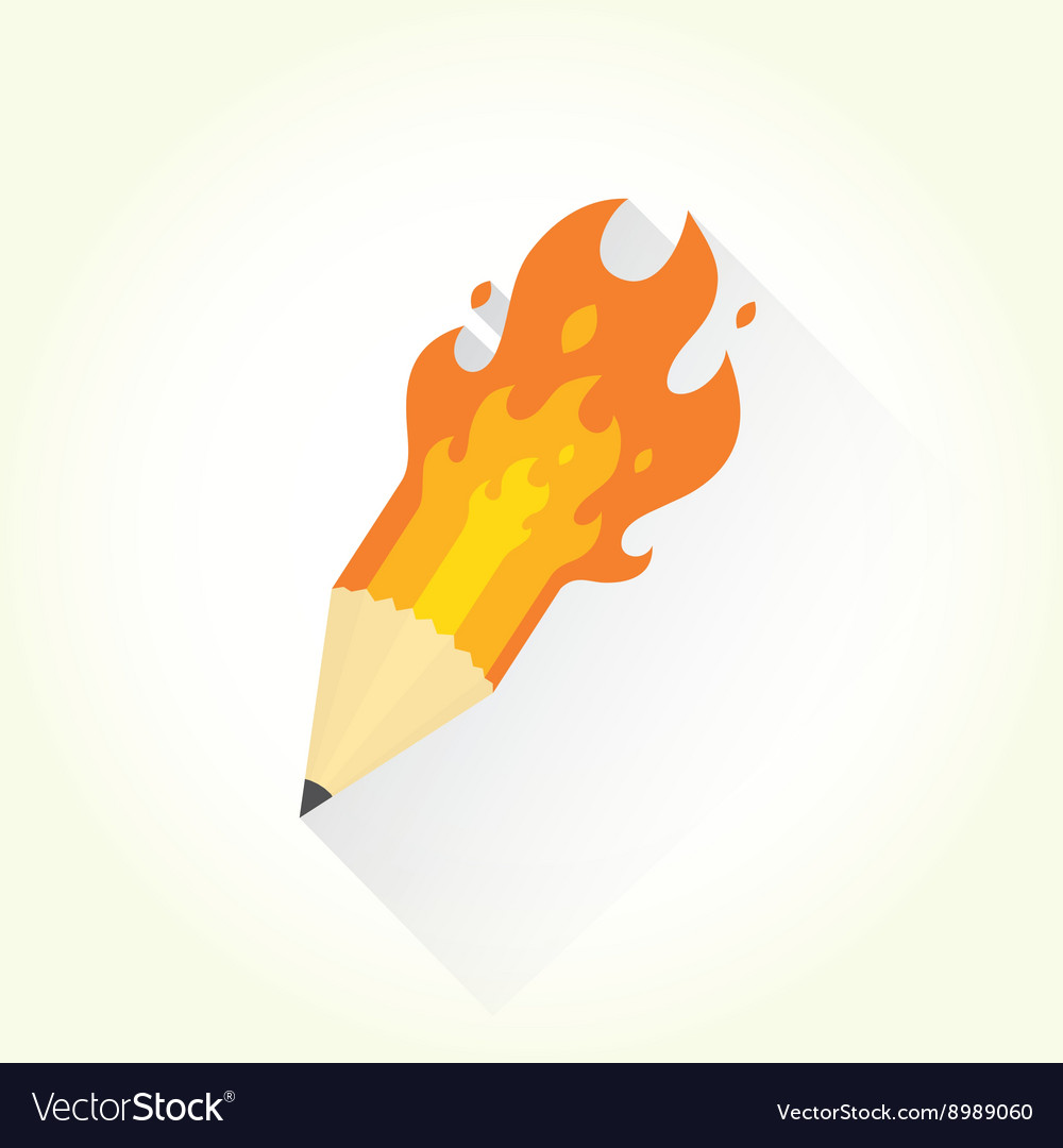 Pencil and flame isolated object vector