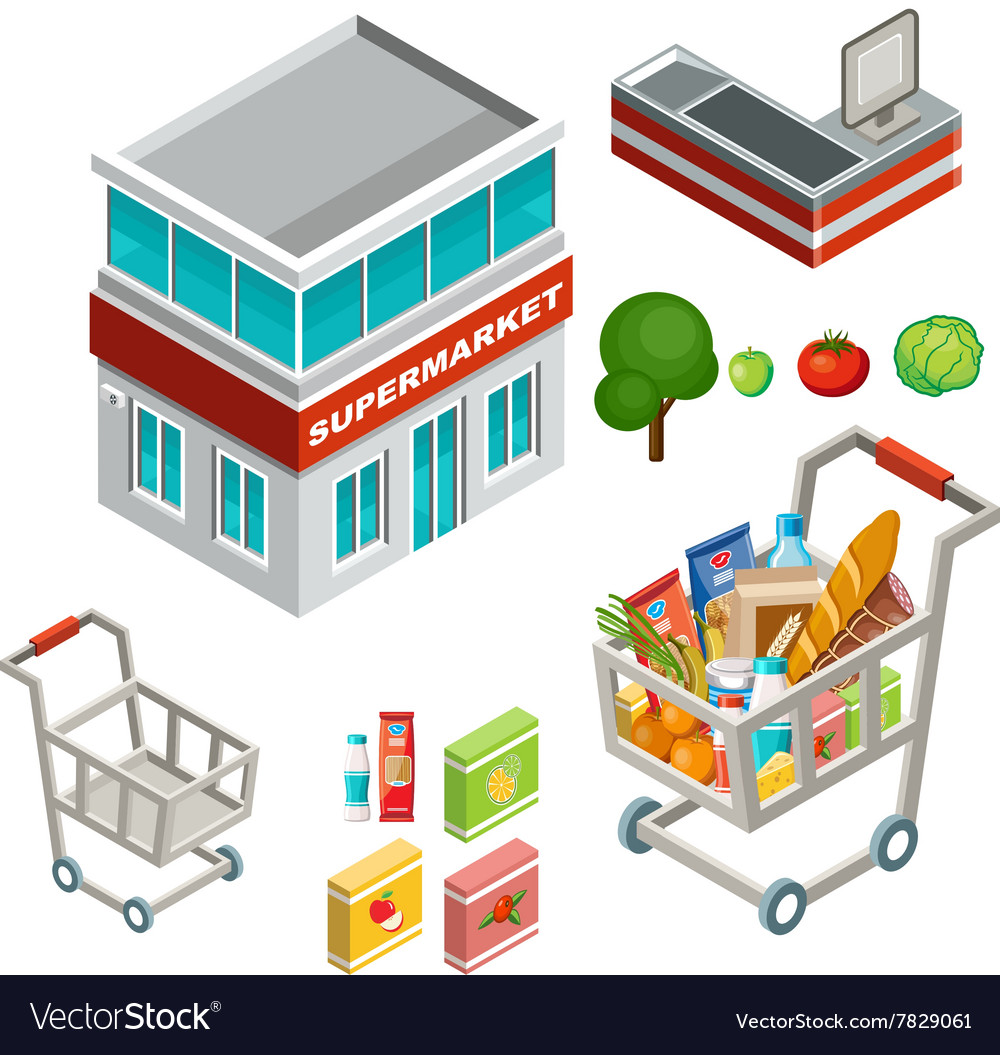 Isometric supermarket vector