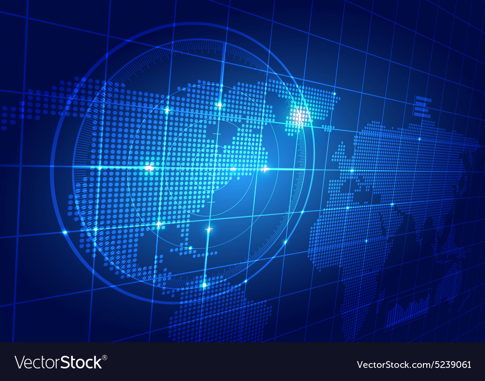 World map with technology background vector