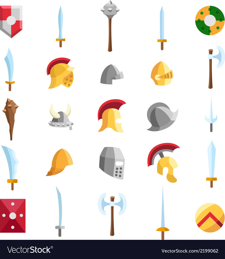 Flat medieval icons 2 vector