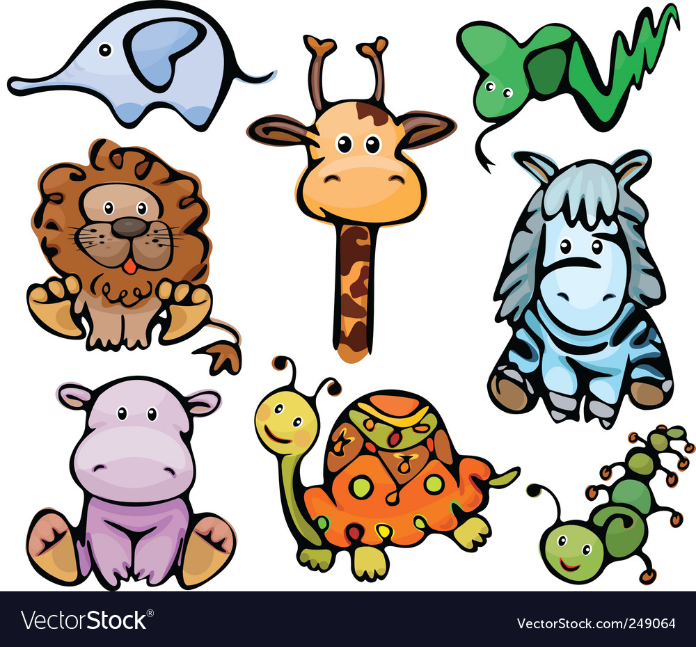 Cute baby animals vector