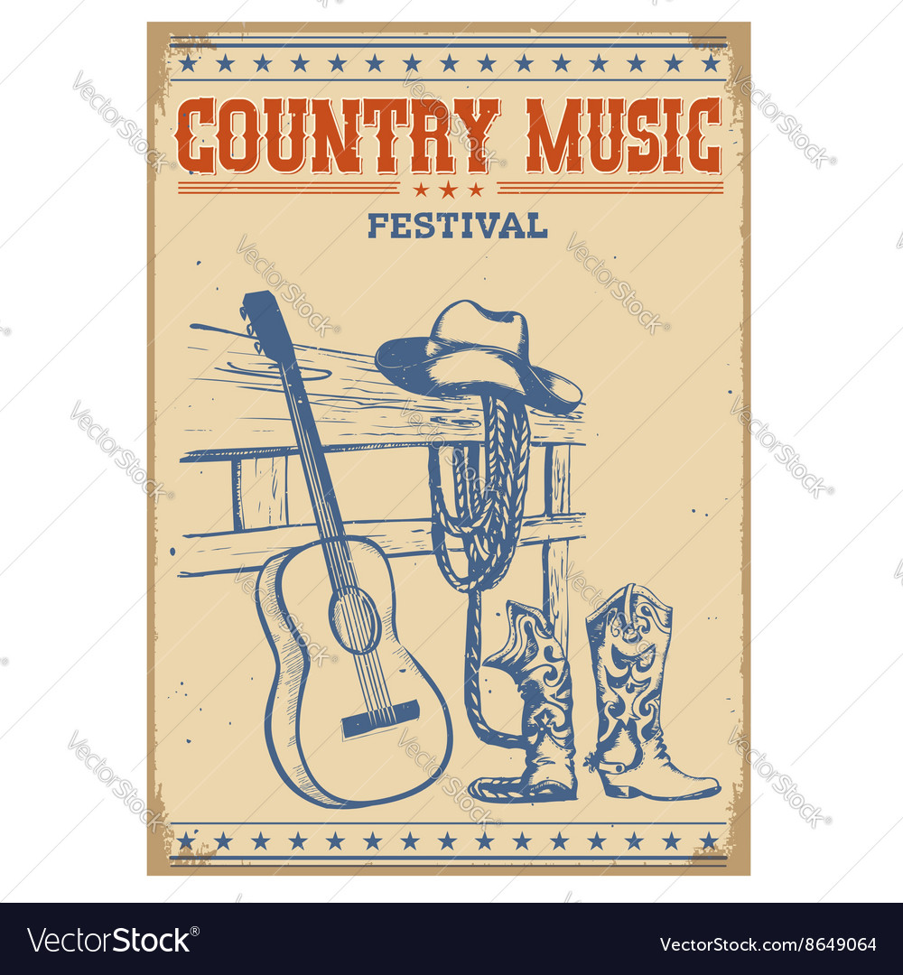Poster music festival background with guitar and vector