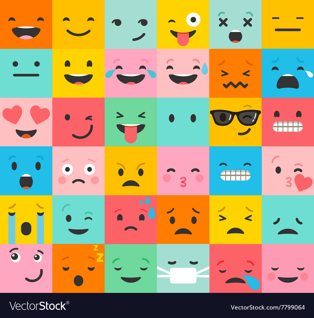 Set of colorful emoticons pattern vector