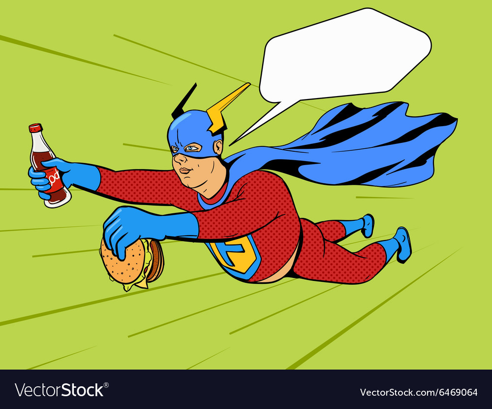Superhero fat man and burger comic book vector