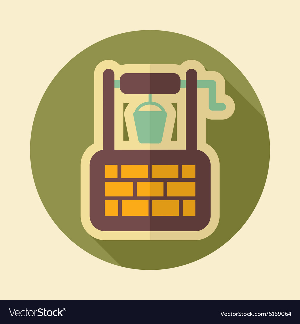 Water well retro flat icon with long shadow vector