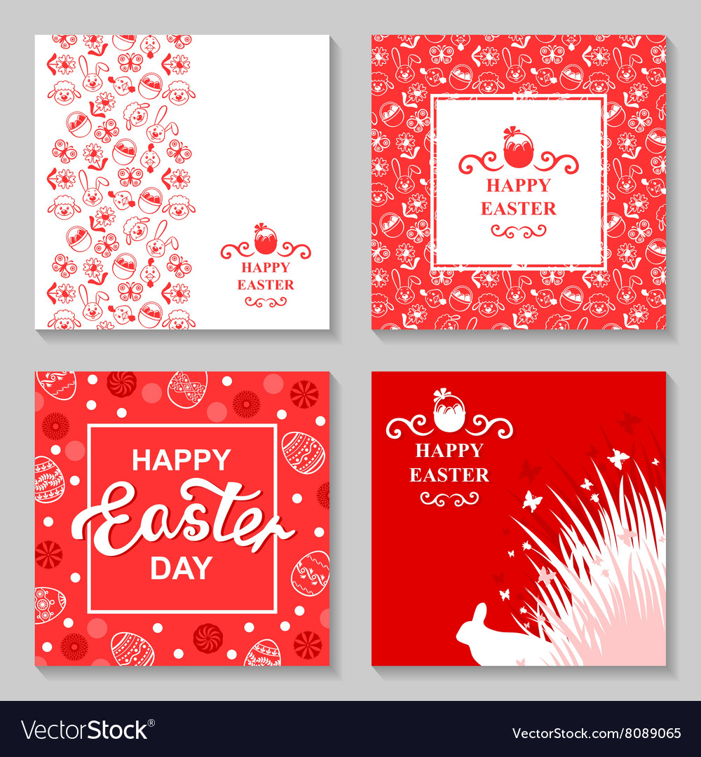 Easter card4 set vector