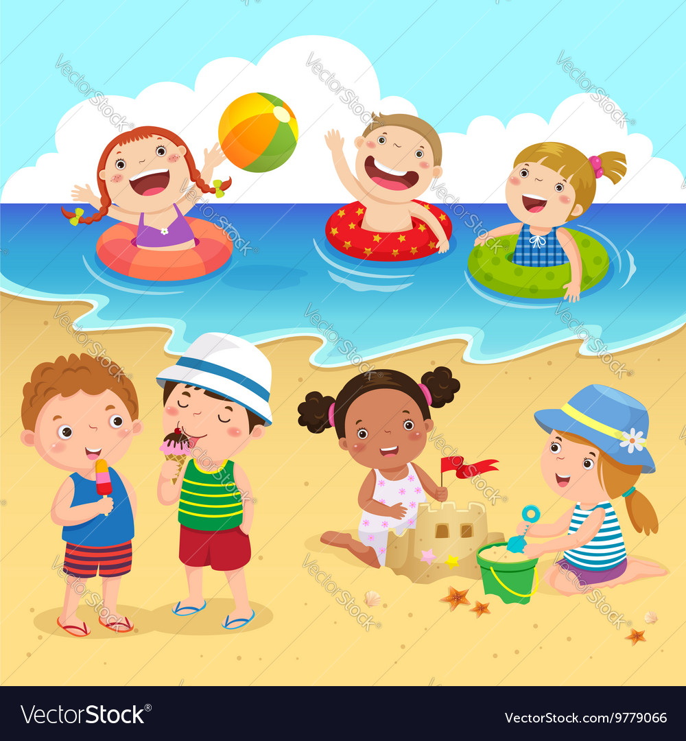 Happy kids having fun on the beach vector