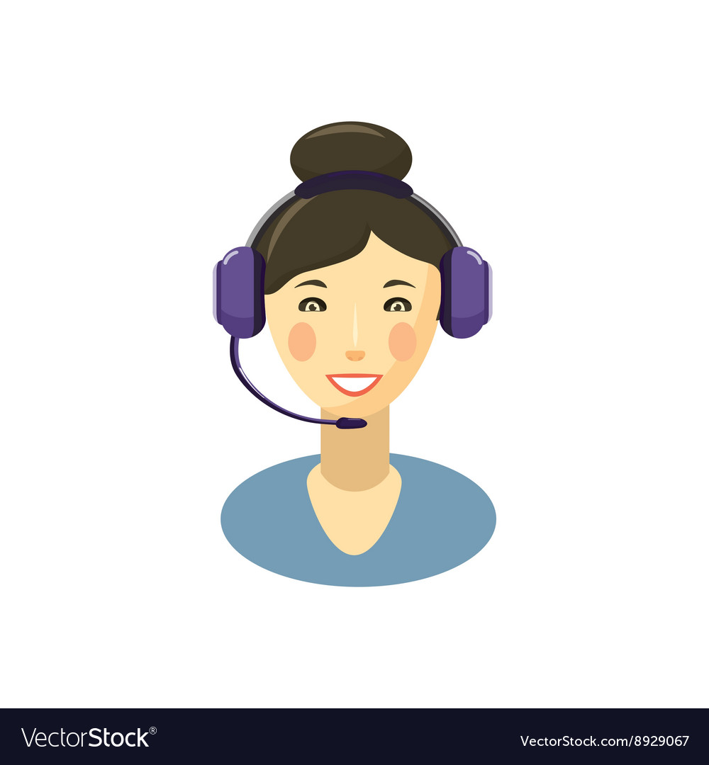 Call center smiling operator with headset icon vector