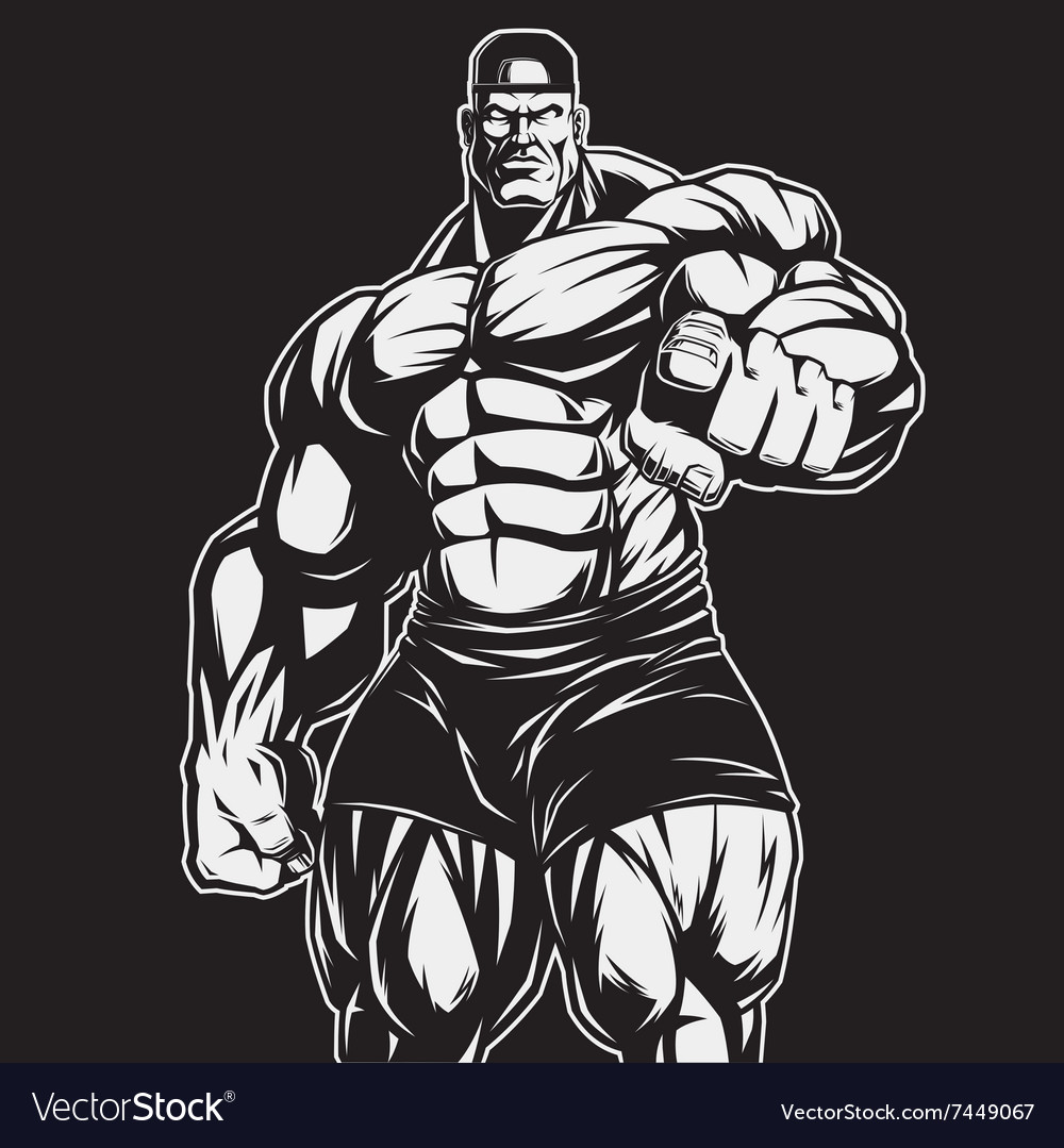 Coach of bodybuilding and fitness vector