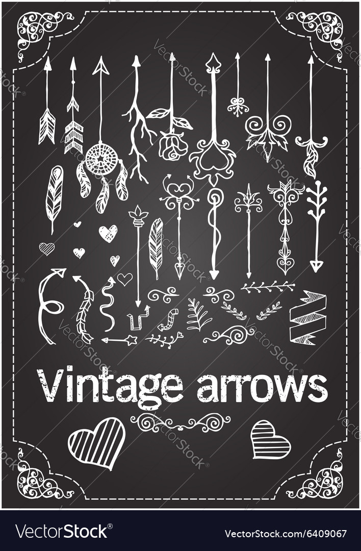 Hand drawn vintage arrows vector
