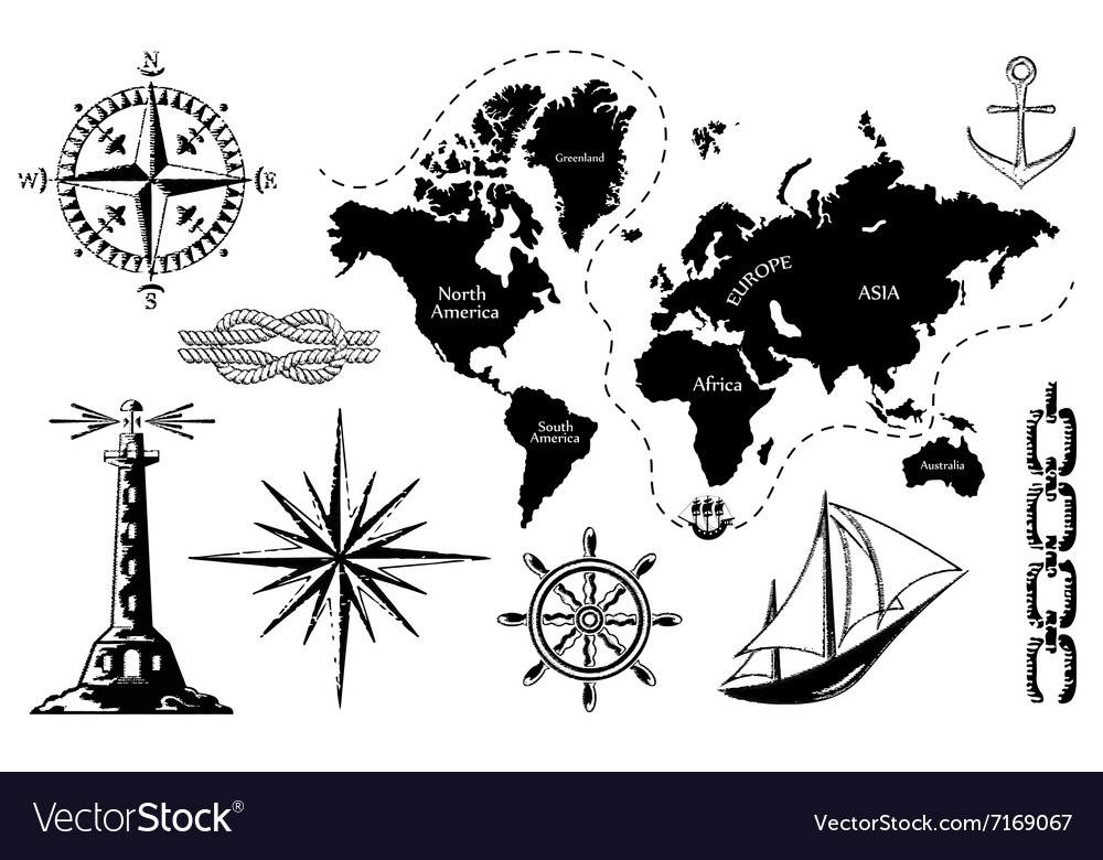 Old map and a set of sea icons vector