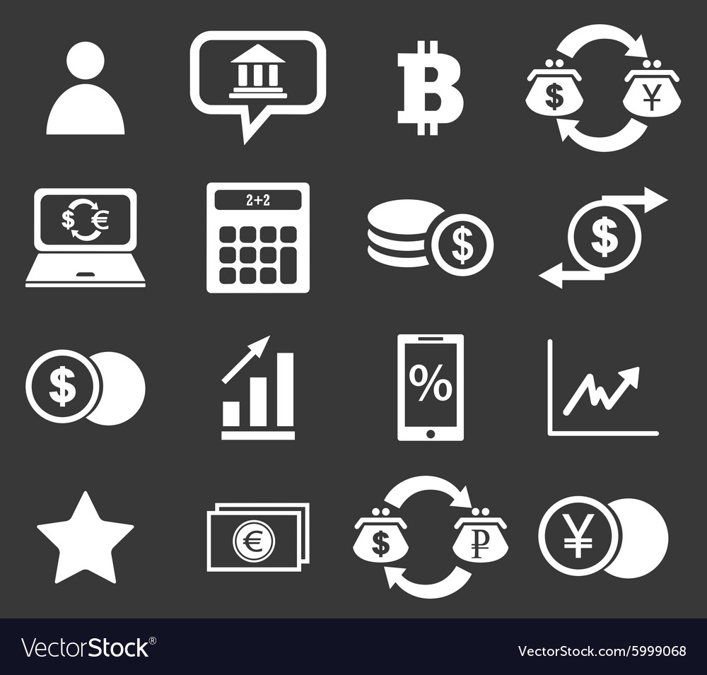 Finance icon set 4 monochrome vector