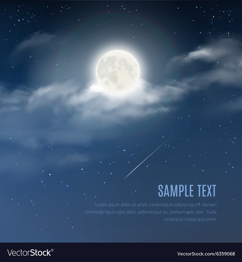 Night cloudy sky with the shining stars and moon vector