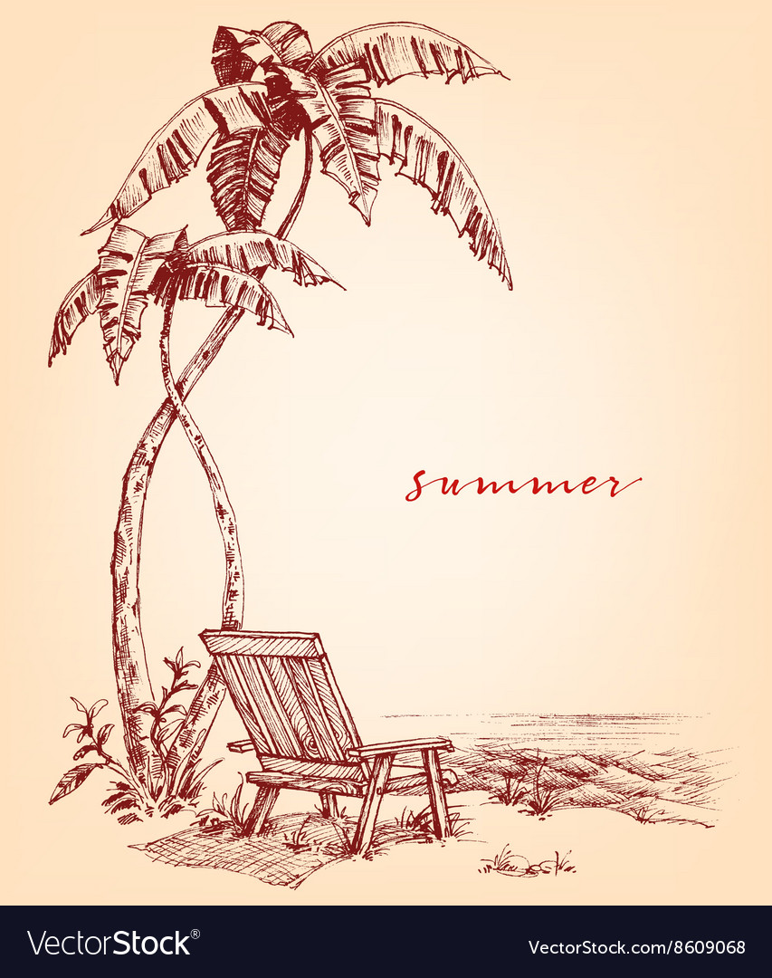 Summer sketch palm trees and sunbed on the beach vector
