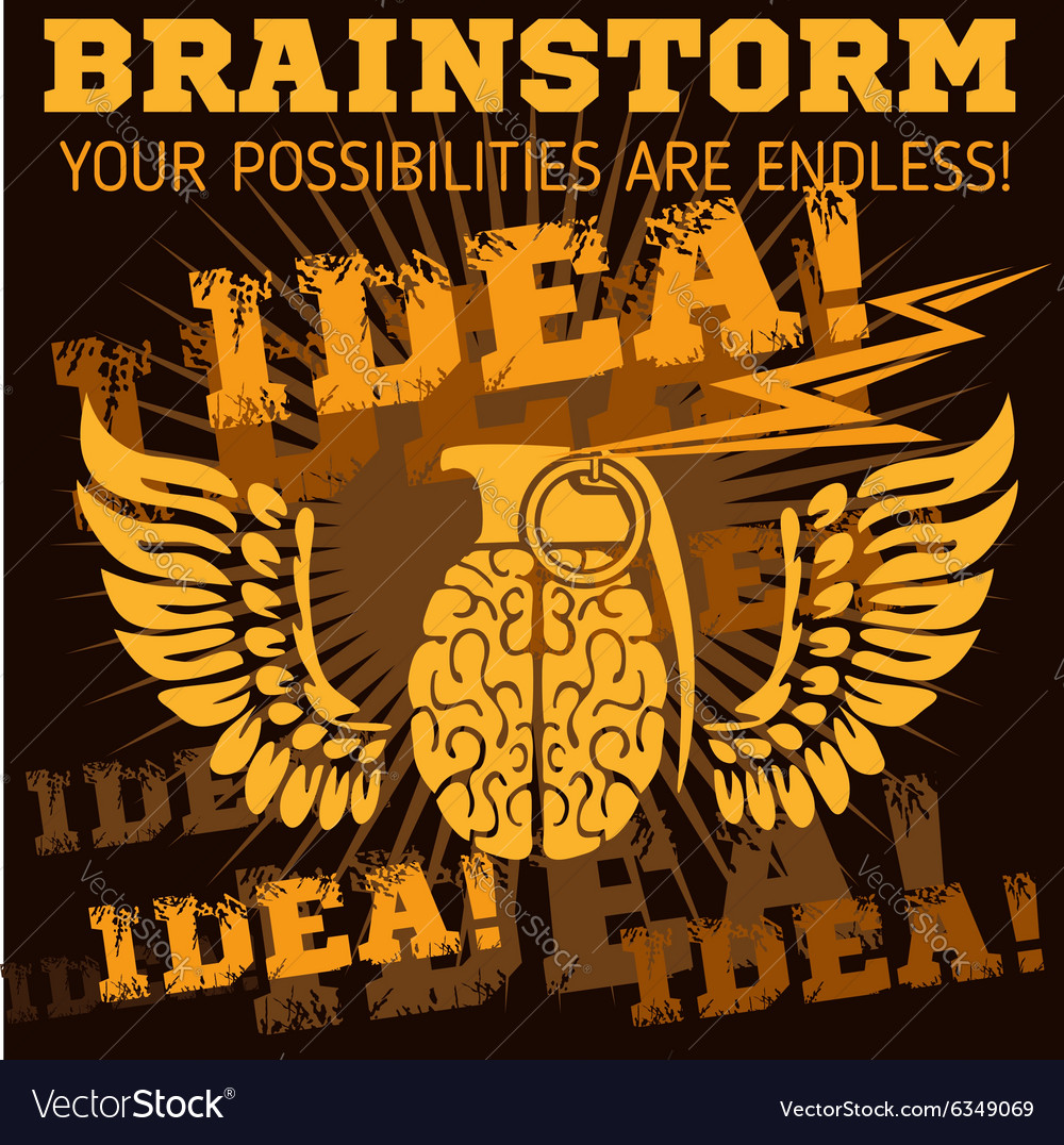Idea  brainstorm brain grenade vector