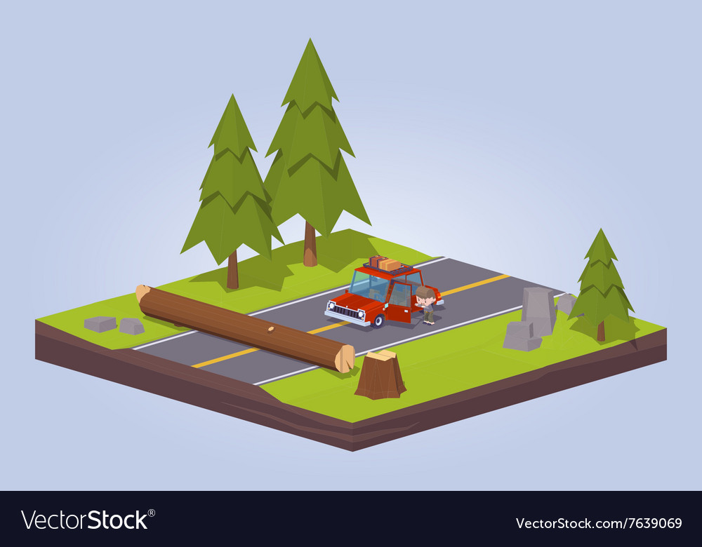 Old tree crashed on the road vector