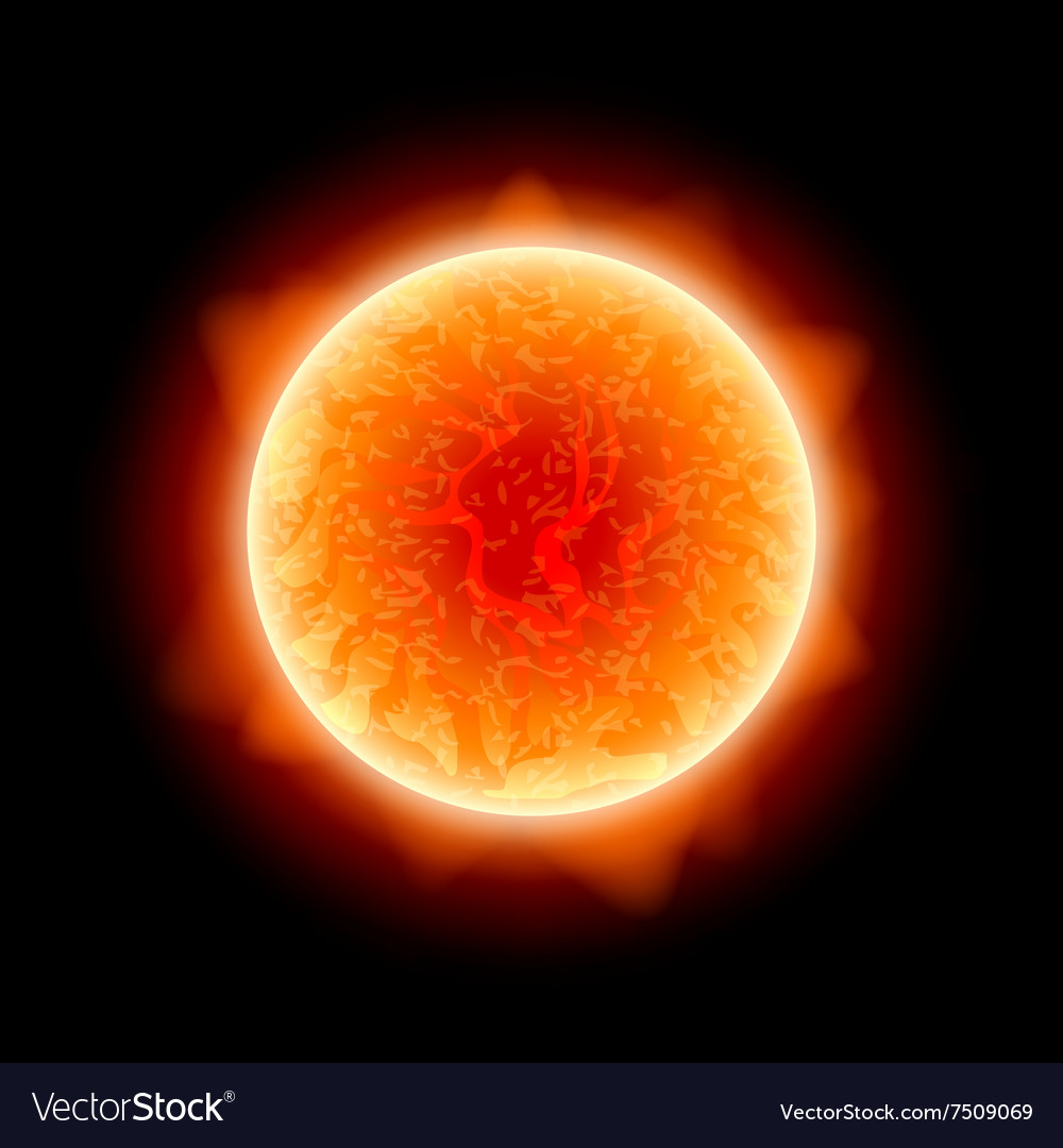 Realistic sun isolated on black vector