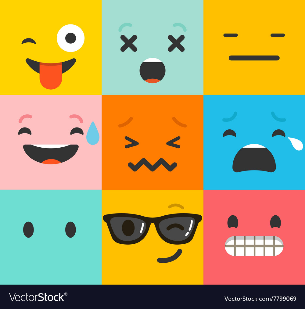 Set of emoticons emoji isolated vector