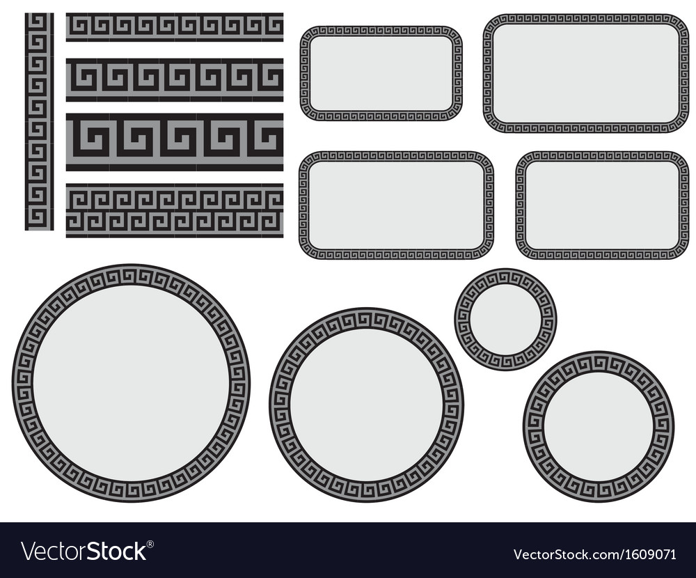 Design elements with greek pattern vector