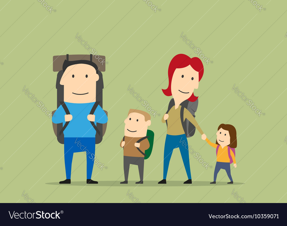 Family with backpacks parents and kids hiking vector