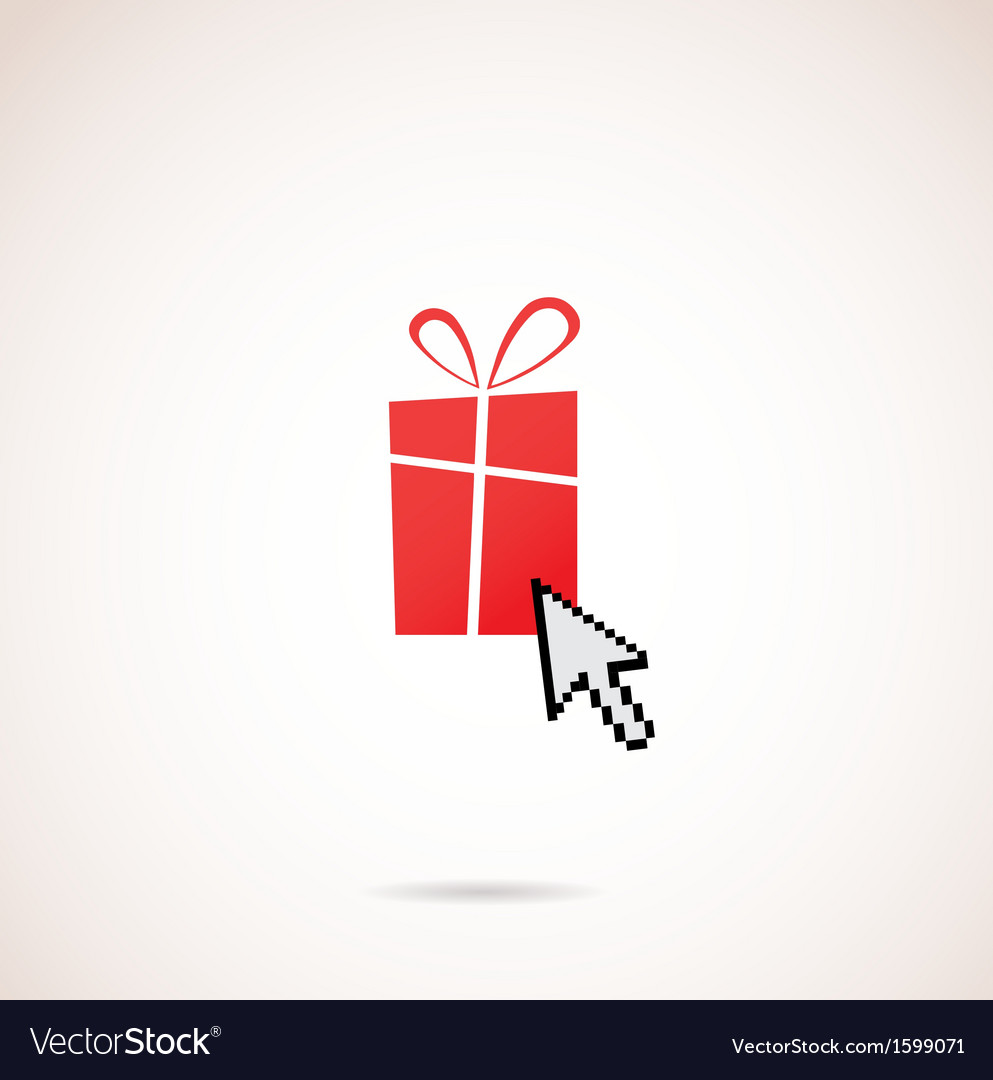 Present with computer arrow christmas and holiday vector