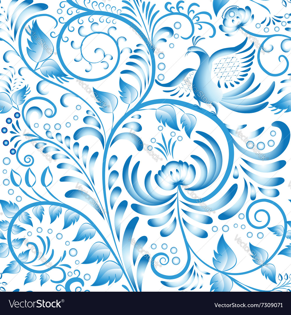 Seamless floral pattern blue painted in gzhel vector