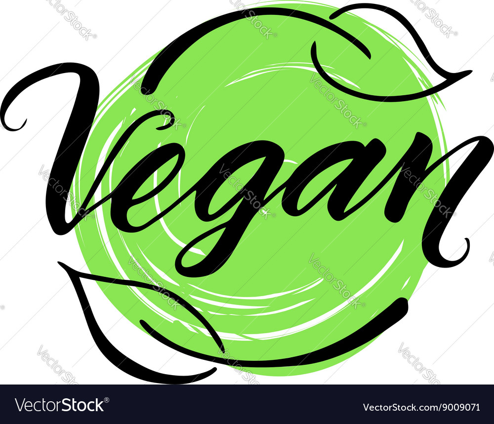 Vegan hand drawn brush lettering vector