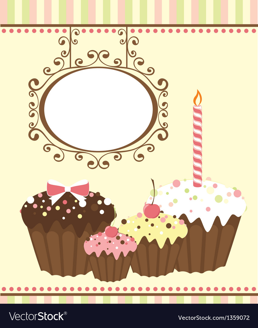 Celebration card with three muffins vector