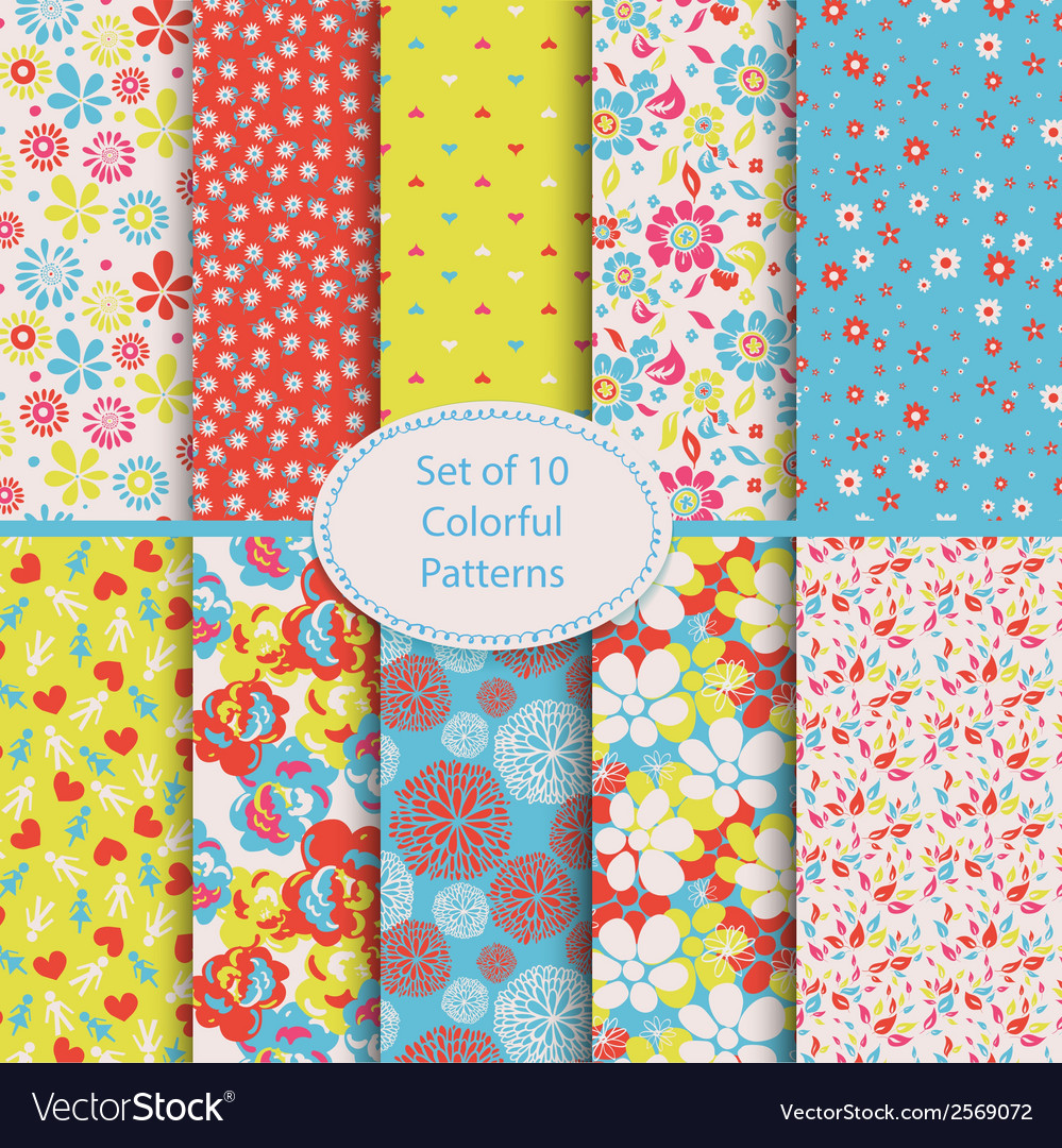Set of 10 seamless floral and hearts background vector