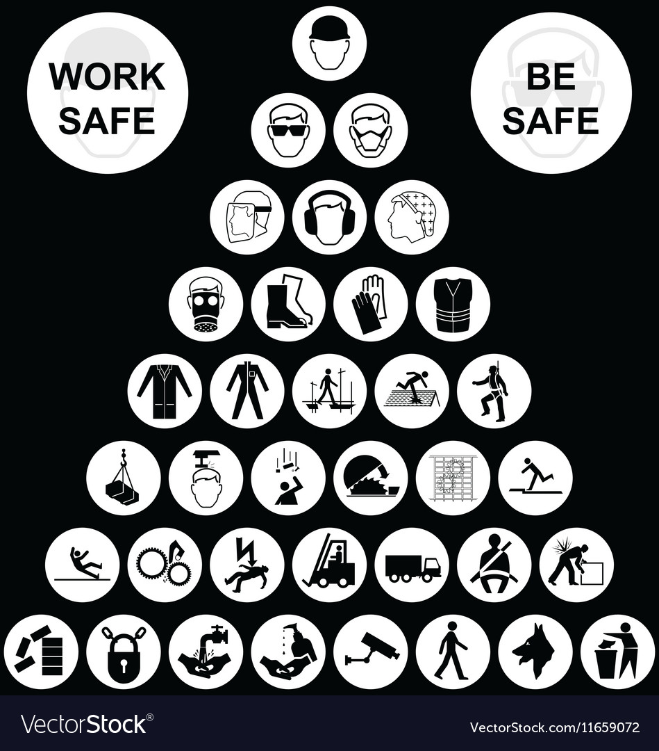 White pyramid health and safety icon collection vector