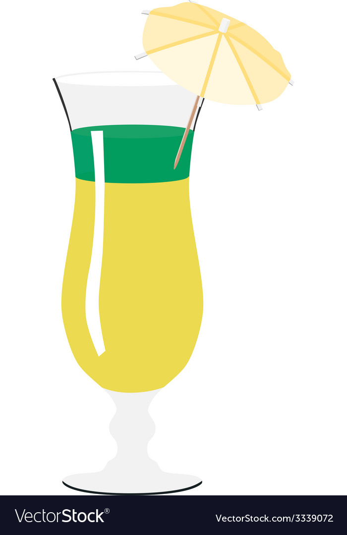 Yellow and green cocktail with umbrella vector