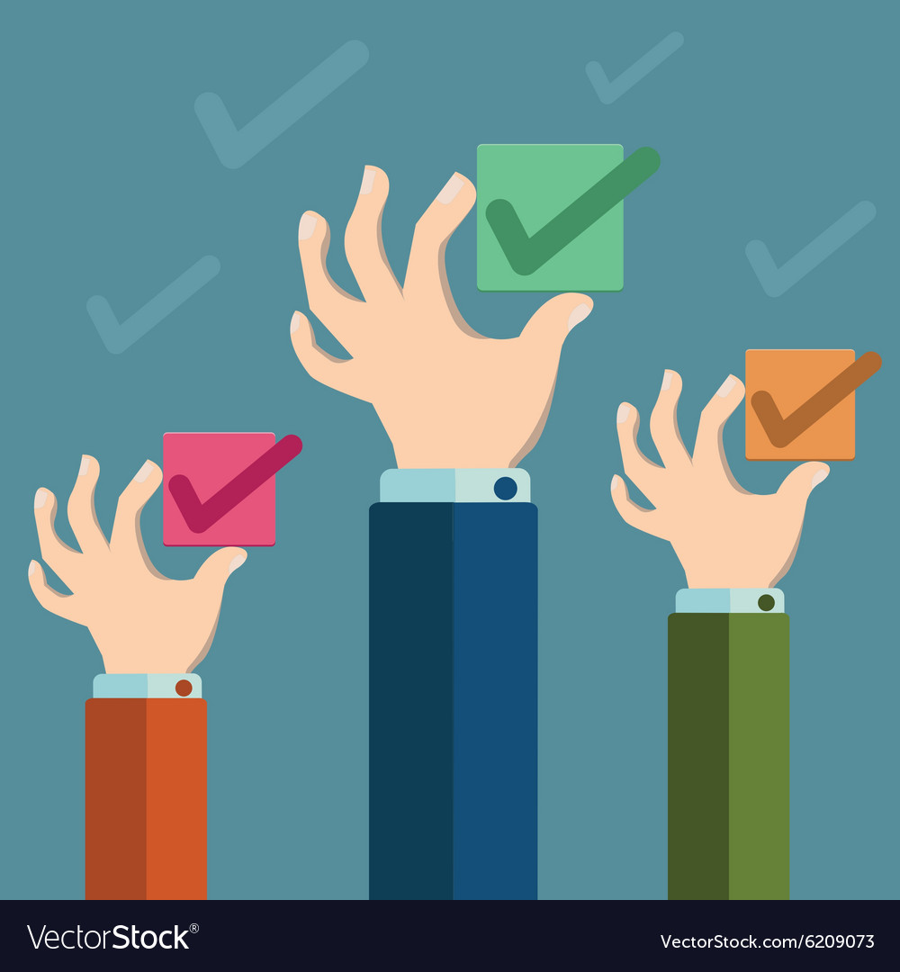 Check box concept hands holding check box vector