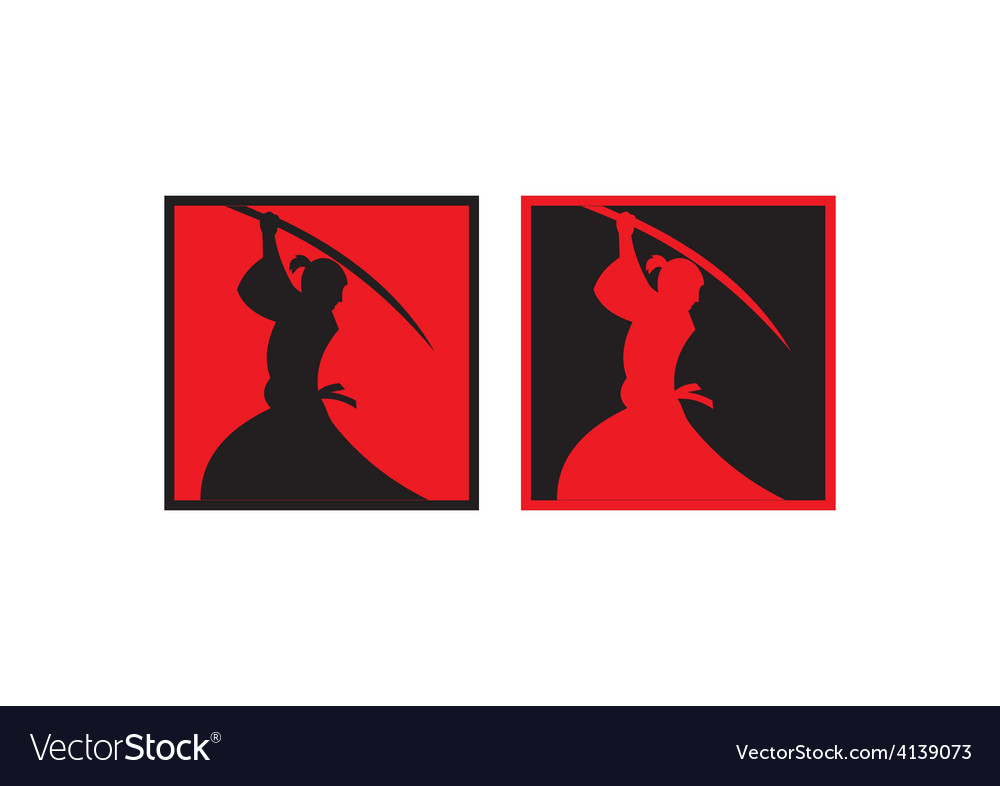 Samurai sword japan abstract logo vector