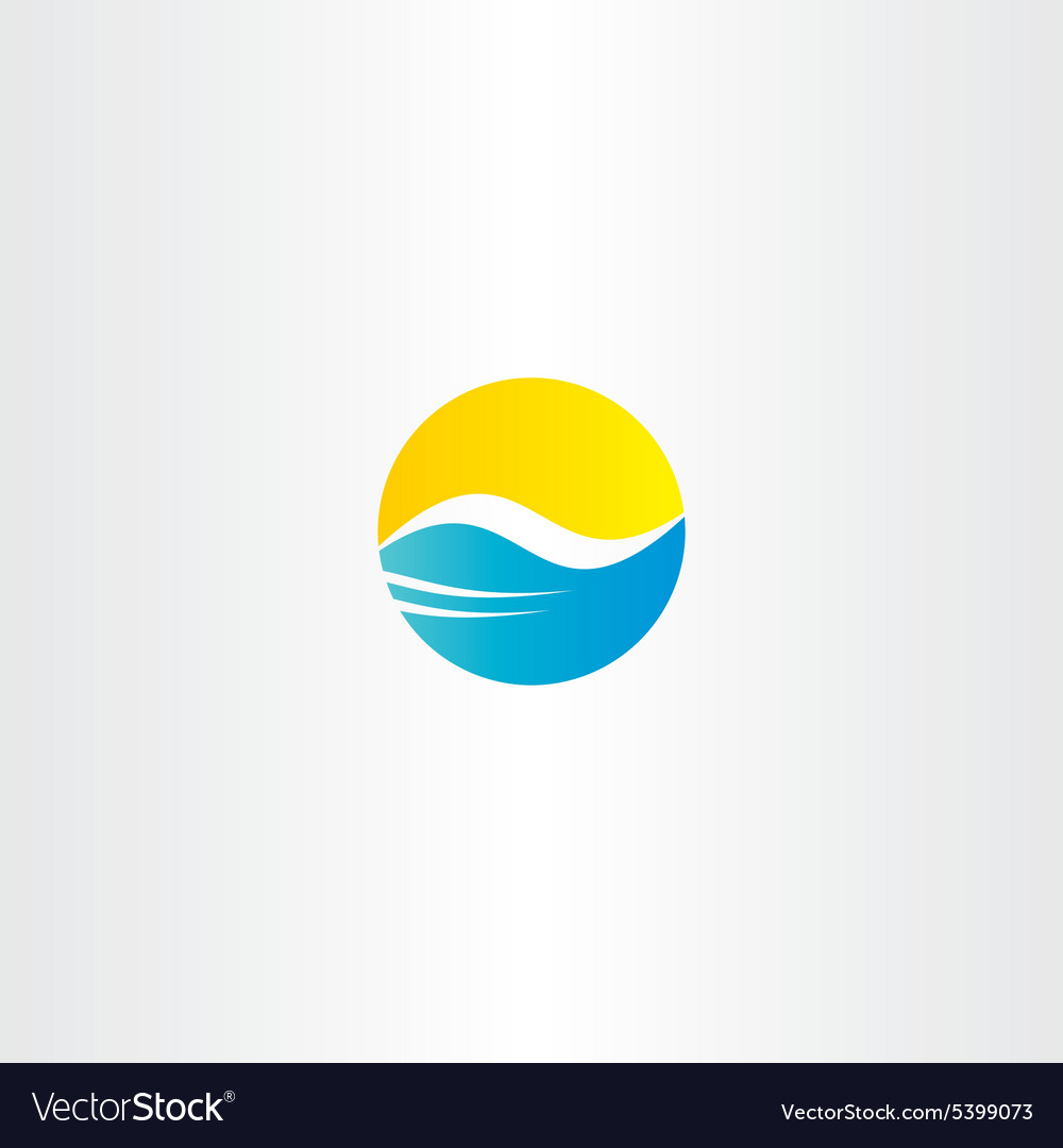 Water wave and sun tourism logo element vector